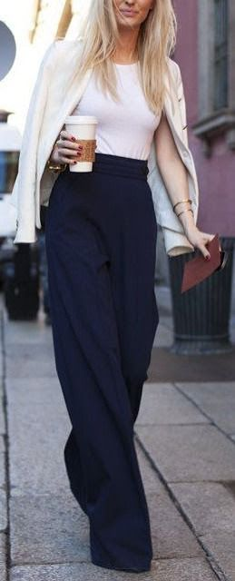 Chic fall look   High waist navy trousers, white tee and off white jacket