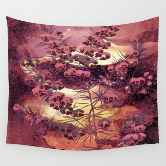 pink Christmas landscape Wall Tapestry