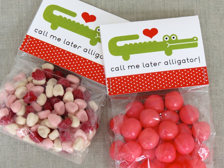 Printable Valentines - call me later alligator!