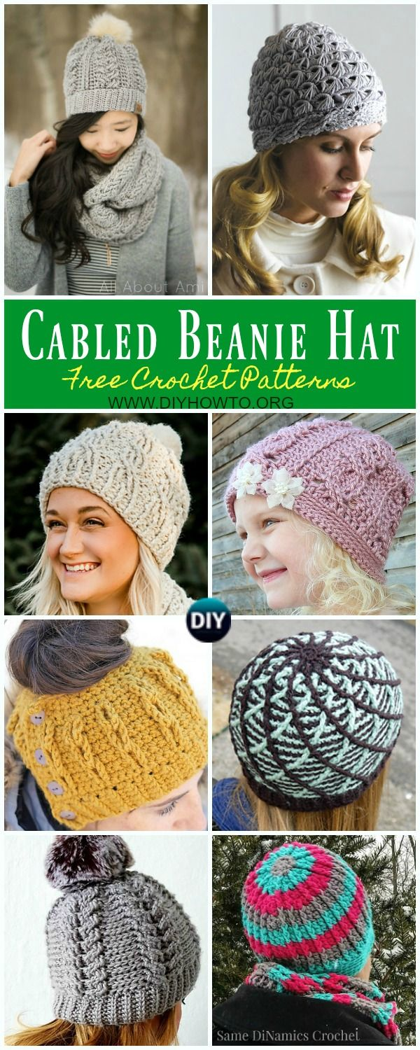 A collection of Cabled Beanie Hat Free Crochet Patterns all sizes 1211e5c4e7
