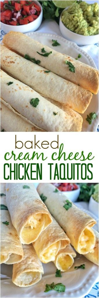 Cream Cheese Baked Chicken Taquitos are a delicious and simple dinner recipe for the whole family. Click thru for the recipe or Repin for later!