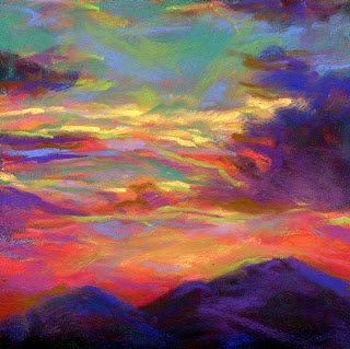 "SURREAL SUNSET-6""x6"" pastel - pastel sky by ©Susan E. Roden, http://susanroden.blogspot.com"