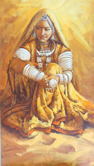 Rajasthani Woman by Sanjay Soni. Beautiful painting or rangoli, Indian art, village girl portrait