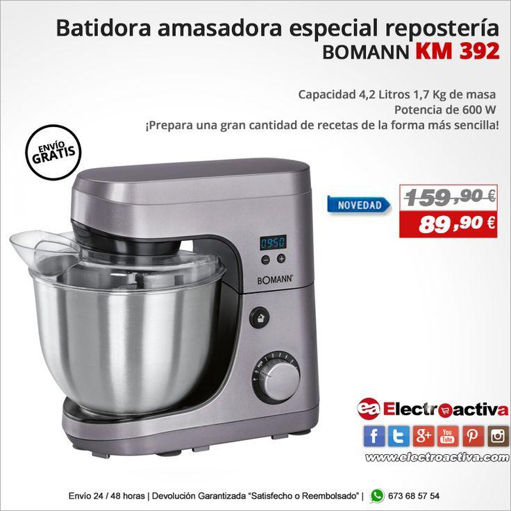 ¡Nueva Batidora Amasadora! Batidora Amasadora BOMANN KM 392 http://www.electroactiva.com/bomann-km-392-batidora-amasadora-3-accesorios-especial-reposteria.html #Elmejorprecio #Batidora #Amasadora #Electrodomesticos #PymesUnidas