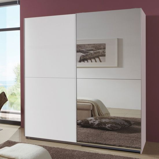 Quest white robe 2 door slidingwardrobe with 1 mirrored for 1 door wardrobe with shelves