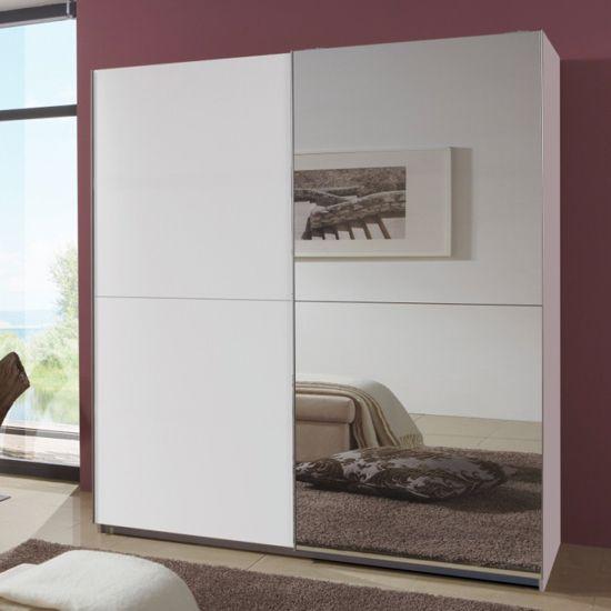 Quest white robe 2 door slidingwardrobe with 1 mirrored for 1 door wardrobe with shelves