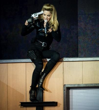 A shocking Madonna is no shock at all: Gang Bangs, Atop Crosses, London Concerts, Fake Guns, Bangs Bangs, Photo, Shock Madonna, Madonna Stands, Bangs 2012
