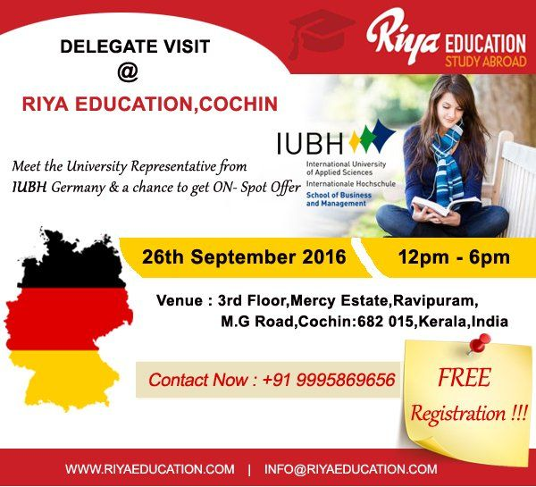 IUBH,Germany delegate visit at Riya Education,Cochin. Meet the University delegate and get a chance for availing On Spot Admissions. Visit our website for more information.