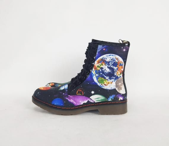 Galaxy Shoes Vegan Leather Vegan Leather Earth Geek Shoes Galaxy Boot Nebula Geek Gift Astrological Gift Planet Boho In 2020 Galaxy Shoes Galaxy Boots Boots