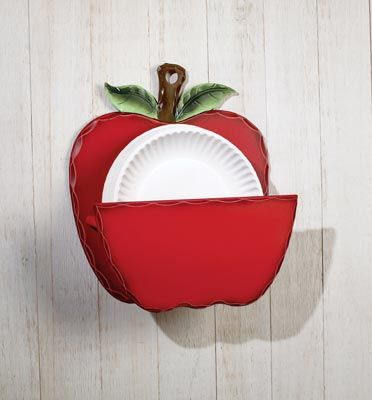 paper plate holders | Apple Decor Wooden Paper Plate Holder from Collections Etc. @notonthehighst