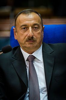 Ilham Heydar oglu Aliyev (Azerbaijani: İlham Heydər oğlu Əliyev; born 24 December 1961) is the fourth and current President of Azerbaijan, since 2003. He also functions as the Chairman of the New Azerbaijan Party and the head of the National Olympic Committee. Apart from his native Azerbaijani, he speaks English, French, Russian, and Turkish. Ilham Aliyev is the son of Heydar Aliyev, who was Azerbaijan's president from 1993 to 2003.