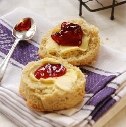 Wildly Delicious Recipe: Scones with Confiture  Serves: 6  Prep Time: 10 minutes  Cook Time: 10 minutes  Top these scones with any of The Wildly Delicious curds or confitures.    Ingredients:  2 cups(500ml)            Flour 1 tbsp  (15ml)             Baking Powder 5 tbsp  (75ml)              Sugar 5 tbsp  (75ml)              Butter ¾ cup  (188ml)            Cream 1 Egg    http://www.wildlydelicious.com/recipes/scones-confiture