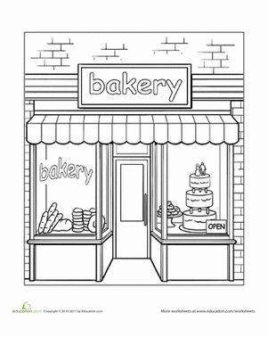 around town coloring pages   Bakery Coloring Page   Worksheets, Bakeries and Window