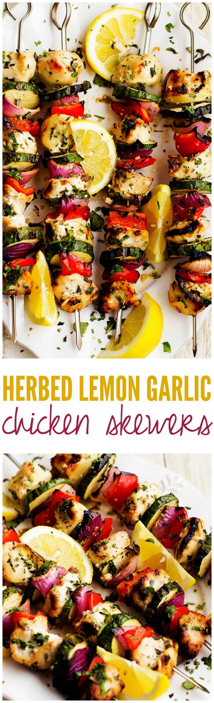 Herbed Lemon Garlic Chicken Skewers - Fast and flavorful marinade. Complemented with fresh and bright summer veggies in this amazing meal that is under 400 calories!