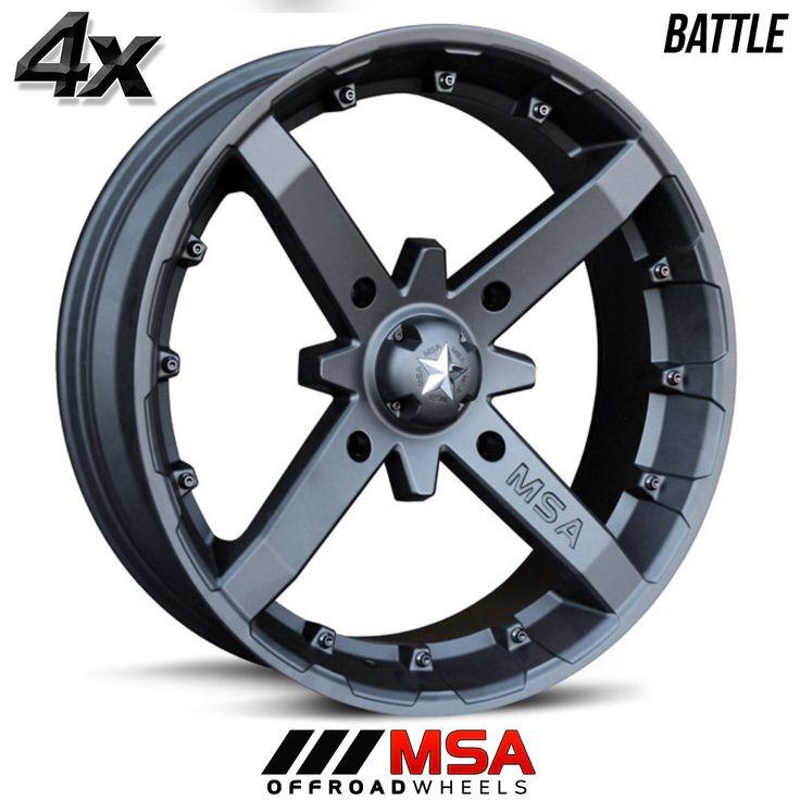 4 MSA BATTLE 14x7 4x137.00 Flat Black OFST:10mm 14 Inch Rims 14X7 Wheels