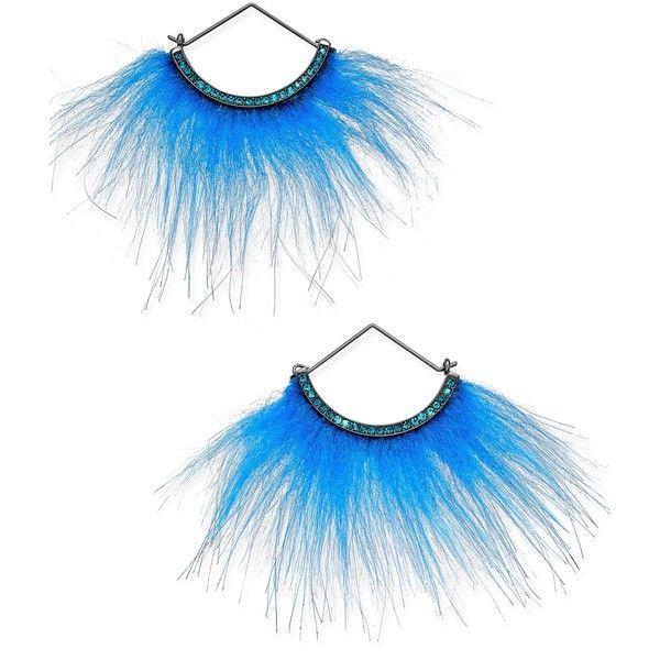Betsey Johnson xox Trolls Faux-Fur Fan Earrings, ($27) ❤ liked on Polyvore featuring jewelry, earrings, blue, earring jewelry, betsey johnson jewellery, betsey johnson, betsey johnson jewelry and blue earrings