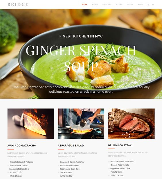 This restaurant theme for WordPress comes with a responsive layout, CSS3 and HTML5 code, SEO optimization, modular shortcodes, WPML compatibility, smooth scrolling, a side menu, a sticky header, and more.