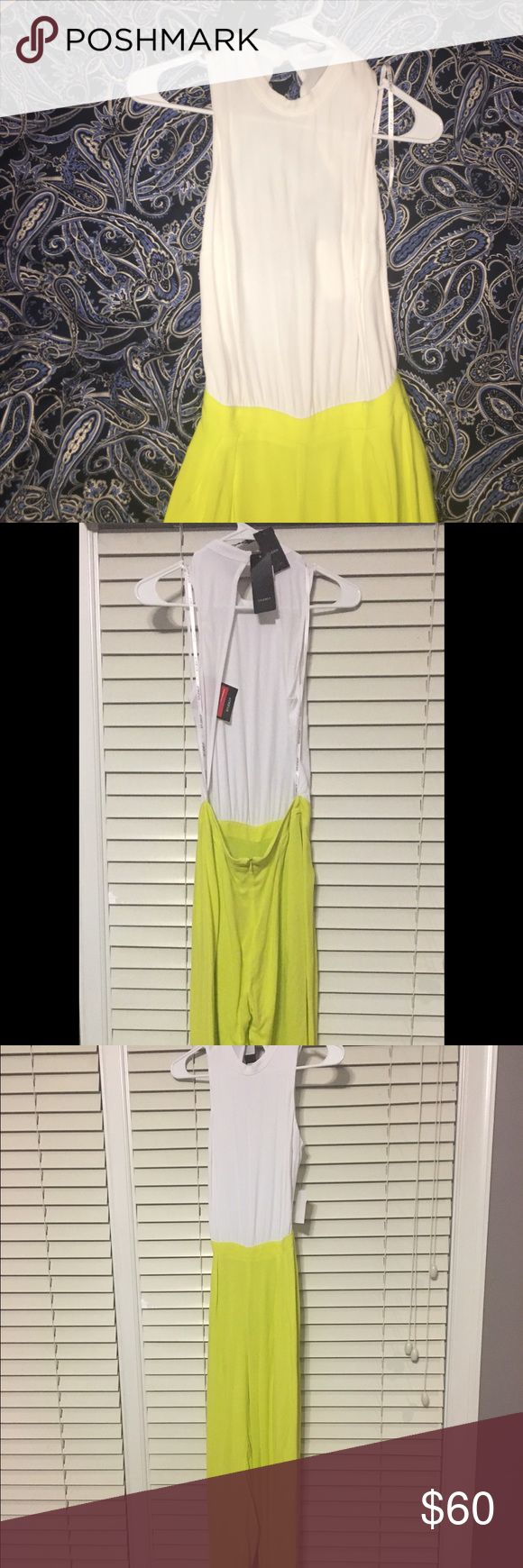 NWT white and lime green jumpsuit. Backless This jumpsuit is Colombian - it is specifically made for curvier 🍑 ladies - Colombian body types. Pants portion is double lined. It's elegant yet sexy. Studio F (brand) is one of the most common & high quality Colombian-import stores in Mexico (where I purchased), similar to BEBE. Studio F Pants Jumpsuits & Rompers