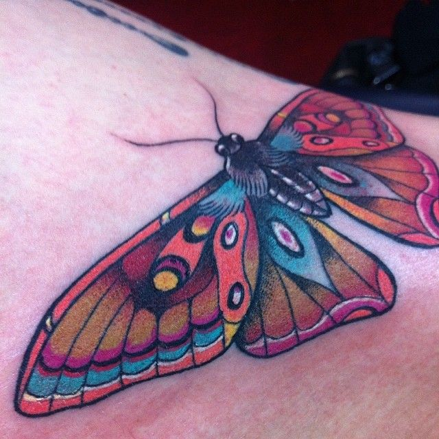 Detail-Knee ditch moth-erfly ☺️ ouch for her fun for me! @salonserpenttattoo #tattoo #tattoos