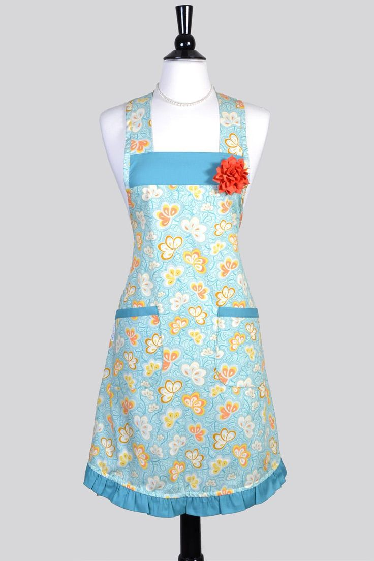 Retro Chef Apron / Art Gallery Fantasia Floral Butterfly Womans Old Fashioned Vintage Inspired Housewife Kitchen Cooking Apron with Pockets by CreativeChics on Etsy