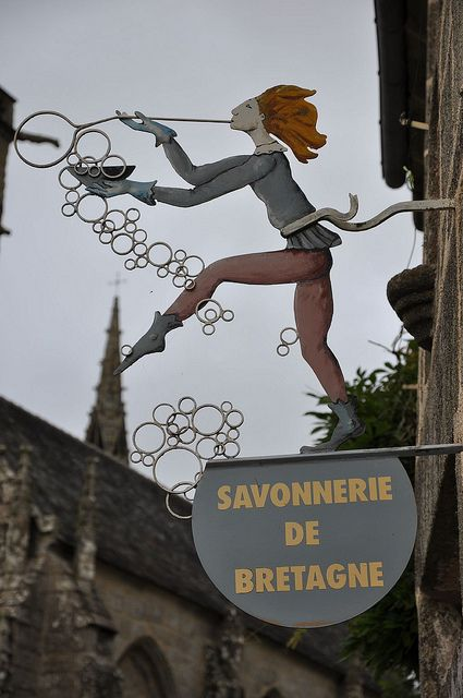 SAVONNERIE DE BETAGNE (Soap Factory of Brittany) in Brittany, France I love the sign!