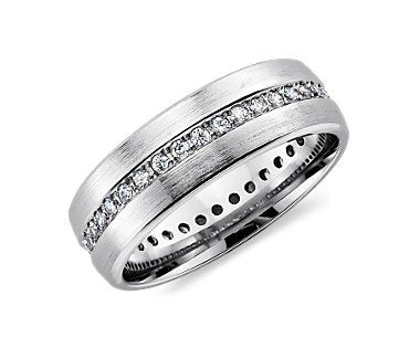 Brushed Diamond Eternity Mens Wedding Ring In 14k White Gold 1 2 Cttw