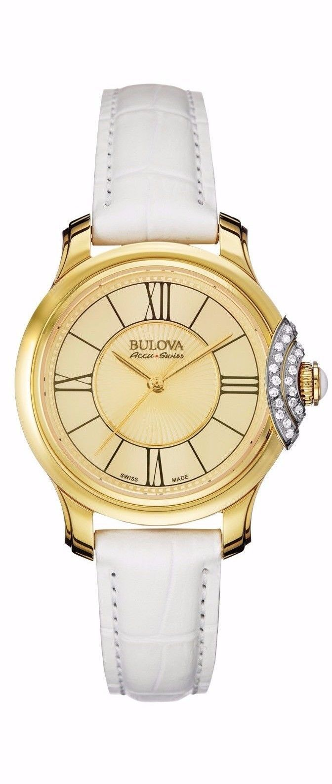 Bulova Accutron Womens 65R163 Accu Swiss Genuine Diamonds Bellecombe Watch