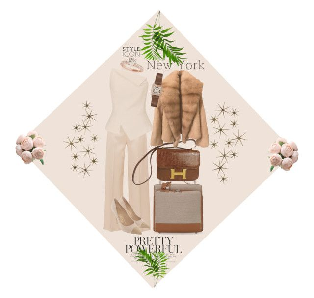 """""""🌴Hello New York 🌴"""" by dns328 ❤ liked on Polyvore featuring The Row, Salvatore Ferragamo, Hermès, Roland Mouret, Cartier, Global Views, necklace and fashionset"""