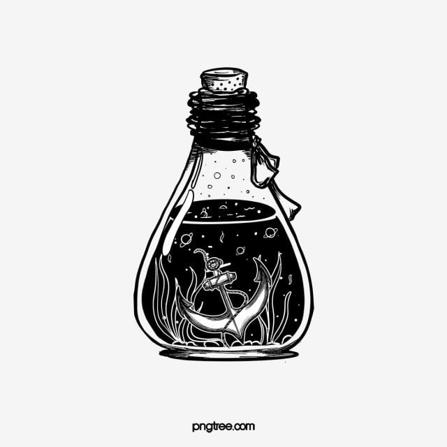 Hand Drawn Iron Anchor Seaweed Line Retro Potion Bottle Hand Painted Black And White Anchor Png Transparent Clipart Image And Psd File For Free Download Black And White Stickers Black And