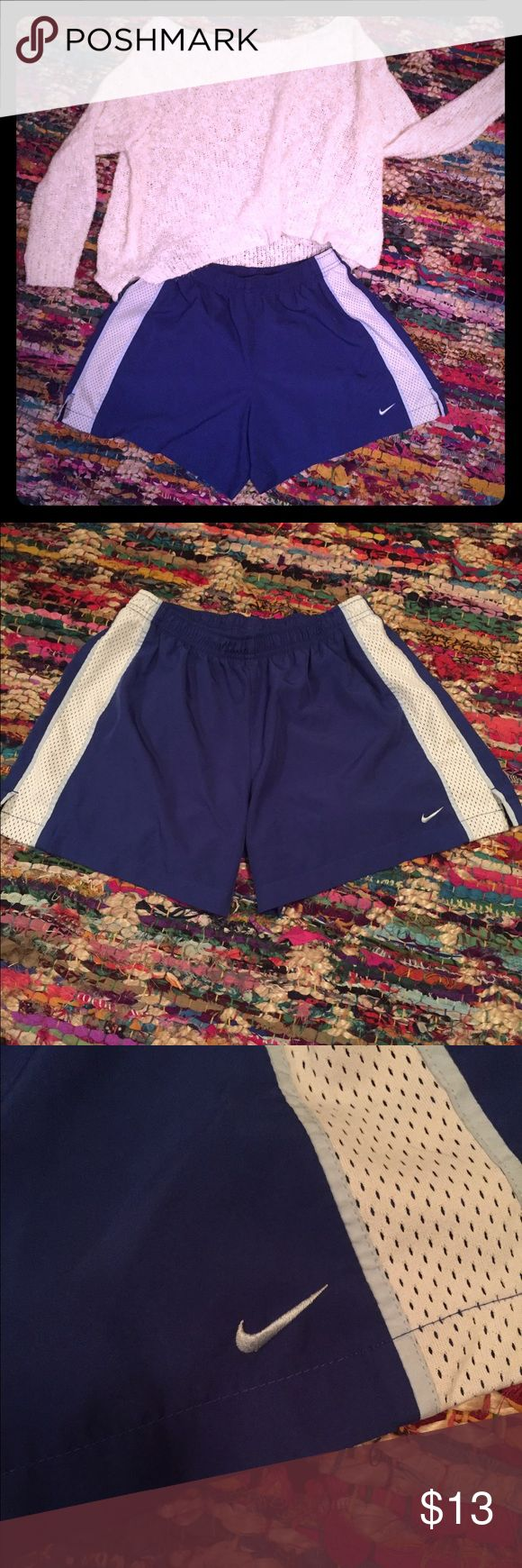 Royal blue Nike shorts Say helllloooooi to these puppies. Nike has done it again these shorts are so light and airy, cozy and comfy you just cant take them off. They are perfect for a jog or just a stroll around the house. No wear or tear like new! Go ahead add it to a bundle! Nike Shorts