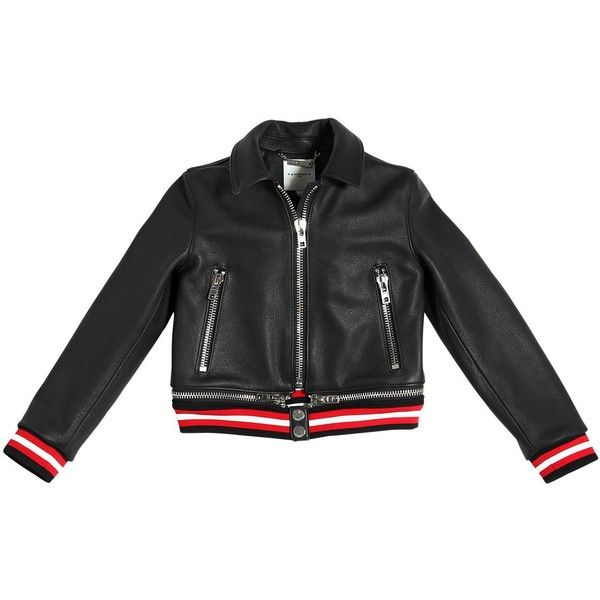 Givenchy Kids-girls Drummed Leather Bomber Jacket ($1,305) ❤ liked on Polyvore featuring black