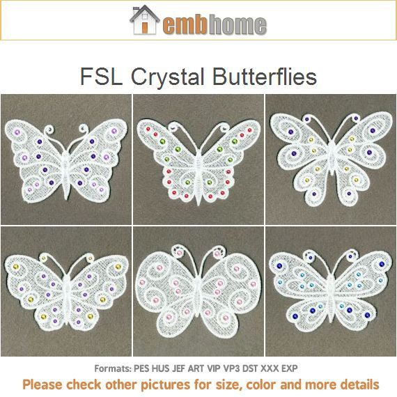 FSL Crystal Butterflies Ornament Free Standing Lace Machine Embroidery Designs Instant Download ...