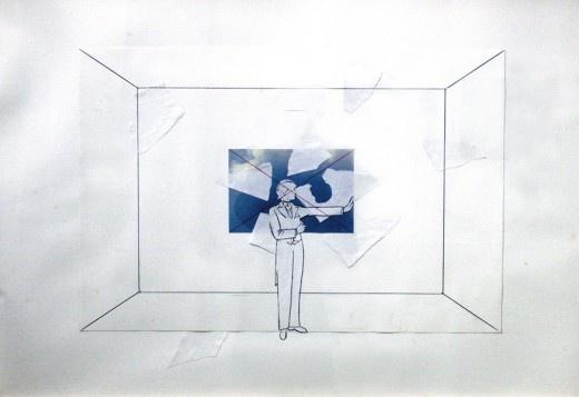 Giulio Paolini//  UNTITLED, 1985, 50 x 70 cm., mix media on paper, In collaboration with Studio La Citta
