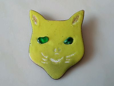 Vtg-Copper-Heavy-Enamel-Weird-Cat-Brooch-Pin-Hand-Painted-Funny-Lime-Green-MCM