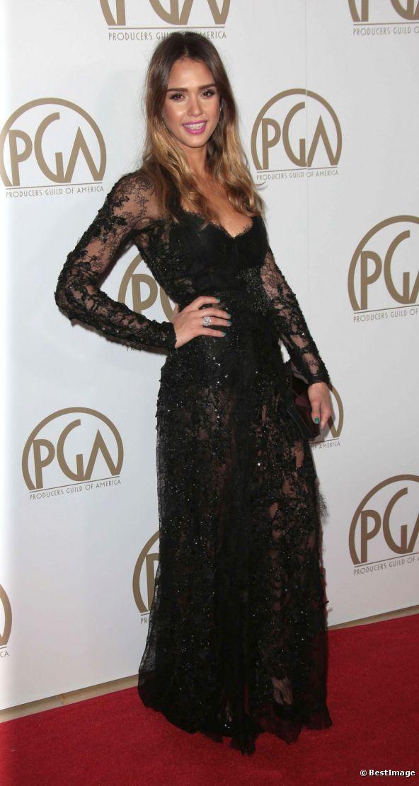 Jessica Alba abito di pizzo nero