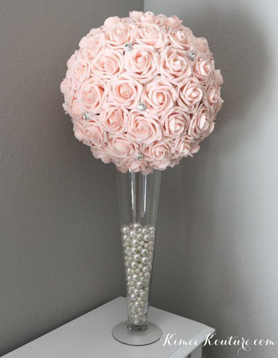 Pink Blush Flower Ball With Large Rhinestone Brooch Wedding Etsy Flower Centerpieces Wedding Flower Ball Pink Centerpieces