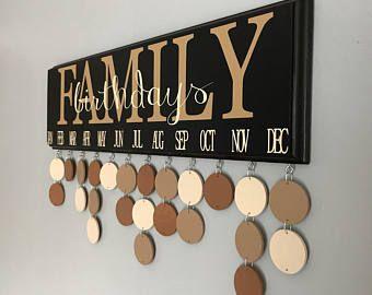 Family Birthday Calendar, Birthday organizer, Family Birthday Board