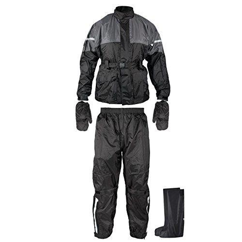 Regenanzug Ganzk�rper Wasserdicht Handschuhe Stiefel Motorradkombi Schwarz M