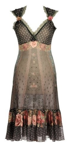 Michal Negrin Special Occasion Tea Length Black Dress Decorated with Stars, Polka Dot and Victorian Roses Patterns, Swarovski Crystals, Lace Trim and Crinkled Hemline - Size XL Michal Negrin,http://www.amazon.com/dp/B0086OEV0M/ref=cm_sw_r_pi_dp_Zxy6qb1KSGY04P1J