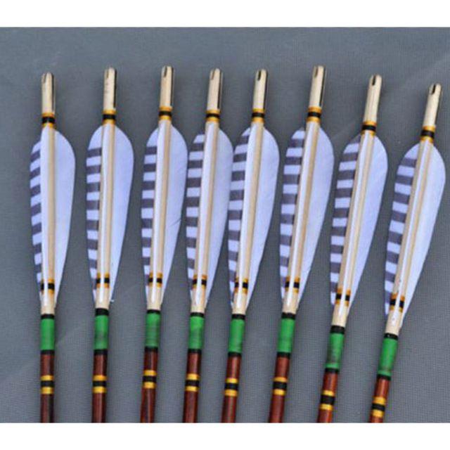 6 stks 78 cm/30.70 inches houten boogschieten pijlen craftsmans handgemaakte houten pijlen turkije veren fit for 20-70lbs jacht bows