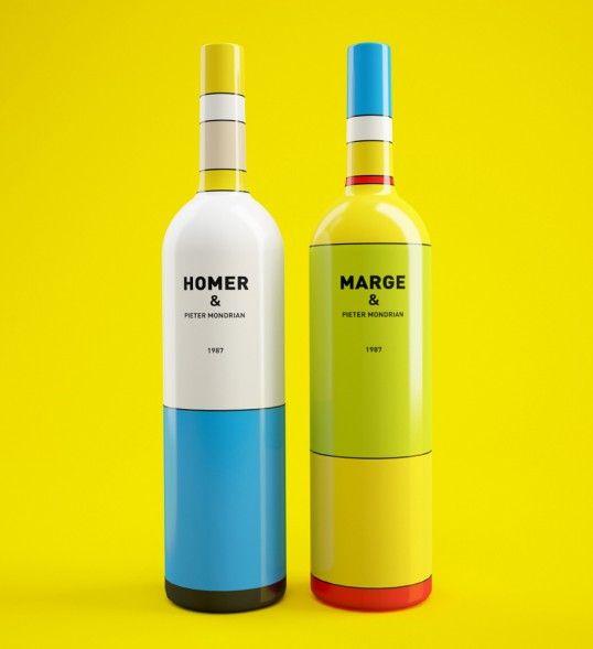 Simpsons characters inspire brilliant minimal wine bottles