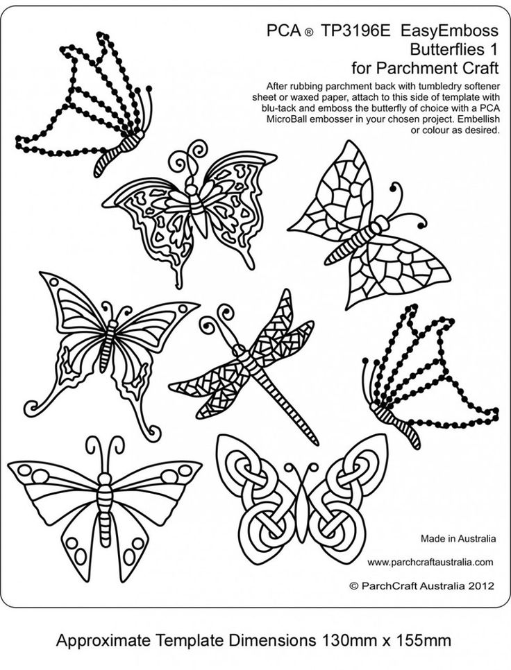 PCA TEMPLATES 3196E - BUTTERFLIES 1 Easy Embossing Template - Butterflies 1. Use a micro ball tool to create butterflies within your designs. Simply place the parchment over the template and follow the lines with a ball tool. PCA recommend lubricating the parchment with a tumble dryer sheet before embossing.