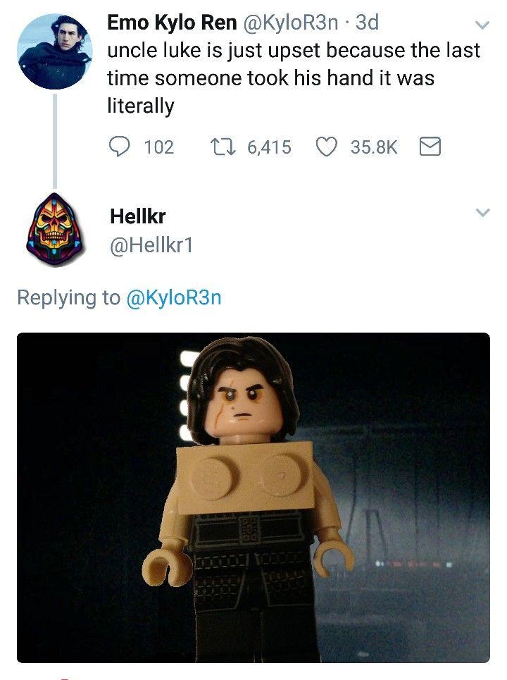 Kyloren Starwars Memes Reylo Rippedkyloren Bensolo Emokyloren Legostarwars Star Wars Humor Emo Kylo Ren Lego Star Wars