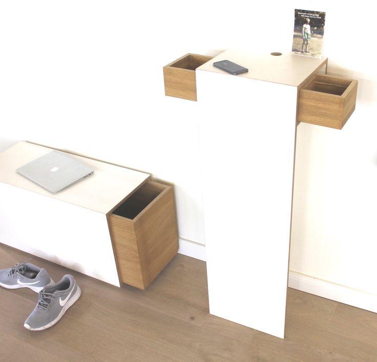 Schuhbank Mortimer in Multiplex weiß kombiniert mit Eiche