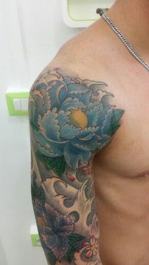Japan tattoo peony sleeve braccio tatuaggio fiori giapponese