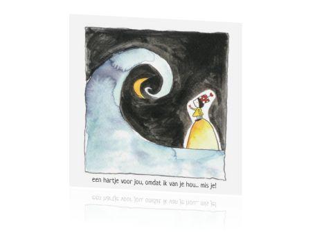 Kinder rouwkaartje met illustratie van de zee en de maan