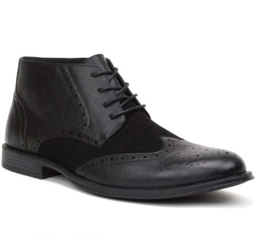 Alpine Swiss Mens Boots Wing Tip Lace Up Dress Shoes Two Tone Brogue Medallion, Adult Unisex, Size: 8, Black
