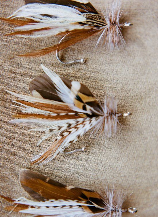 Fly fishing wedding boutonniere lure hook feather pin brooch outdoorsmen nautical rustic beach rustic natural. $17.00, via Etsy.