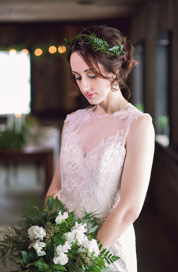 A Bride with a Fern Headpiece and a Gorgeous White and Green Spring Wedding Bouquet with Ferns / photo by Corey Lynn Tucker Photography / as seen on www.BrendasWeddingBlog.com