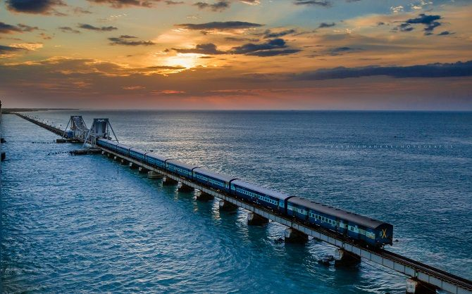 The Pamban Bridge is a railway bridge on the Palk Strait which connects the town of Rameswaram on Pamban Island to mainland India. The bridge refers to both the road bridge and the cantilever railway bridge, though primarily it means the latter.